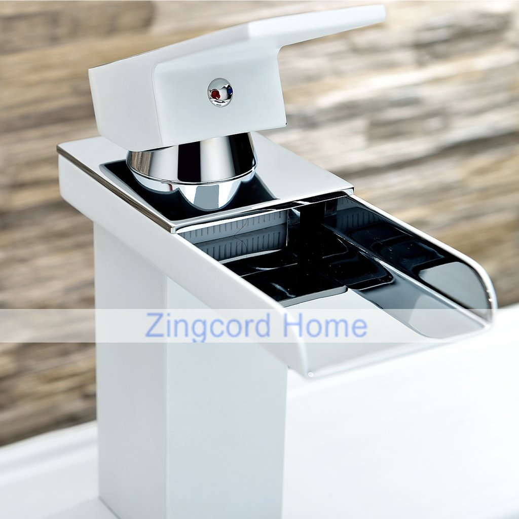 Zingcord Contemporary White Baking Finish Luxury Centerset Single Handle LED Color Change Waterfall Bathroom Sink Faucet by Zingcord (Image #3)