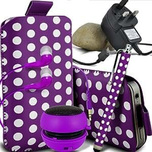ONX3 Asus PadFone Infinity Lite Leather Slip protectora Polka PU de cordón en la bolsa del lanzamiento rápido con Mini capacitivo Stylus Pen, 3.5mm en auriculares del oído, mini altavoz recargable Cápsula, Micro USB CE aprobó 3 Pin Cargador (púrpura y blanco)