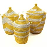 Set of Three Mixed Pattern Yellow & White African Woven Hampers