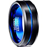 NUNCAD 4mm/6mm/8mm/10mm Tungsten Ring for Men Women Black/Blue/Gold/Rose Gold/Silver Groove Wedding Bands Beveled Edges Engra