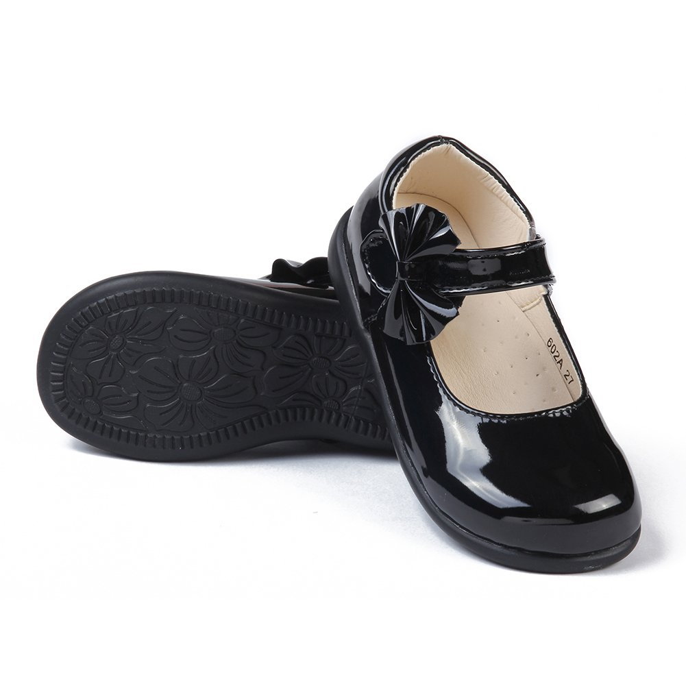 MK MATT KEELY Girls Black Leather Shoes School Uniform Leisure Mary Jane Princess Shoes
