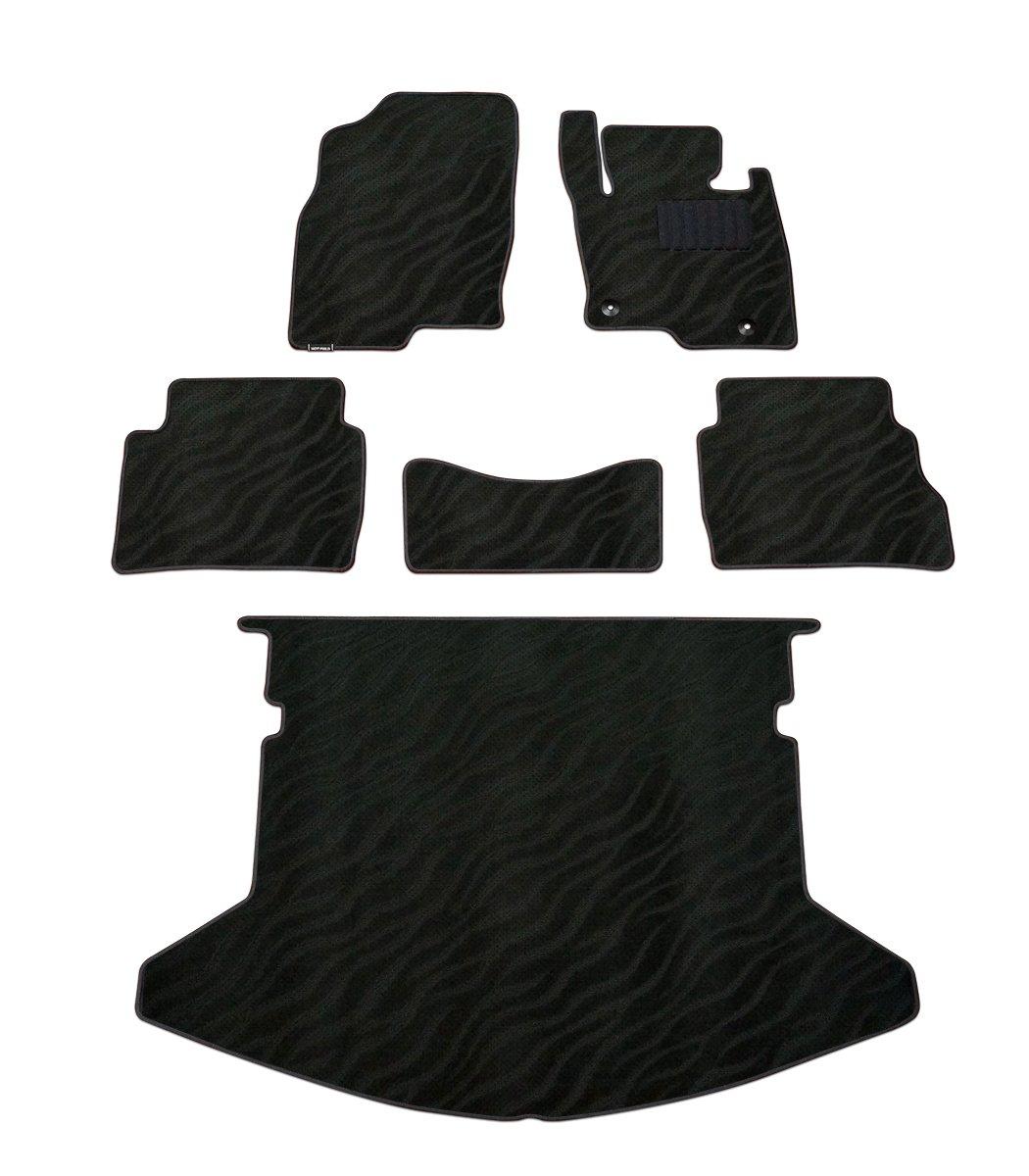 Hotfield マツダ CX-5 フロアマット+トランクマット WAVEブラック KE系 (2012年2月~2017年1月)/フットレスト一体形状 B01N181P1M KE系 (2012年2月~2017年1月)/フットレスト一体形状 WAVEブラック WAVEブラック KE系 (2012年2月~2017年1月)/フットレスト一体形状