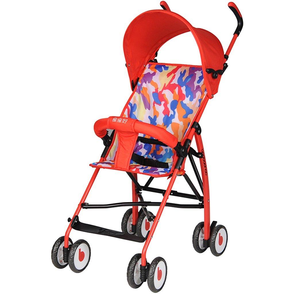 ストローラ傘ウルトラライトポータブルベビーカー折りたたみトロリー(青)(赤)66 * 46 * 100cm ( Color : Red ) B07BT3GGTX