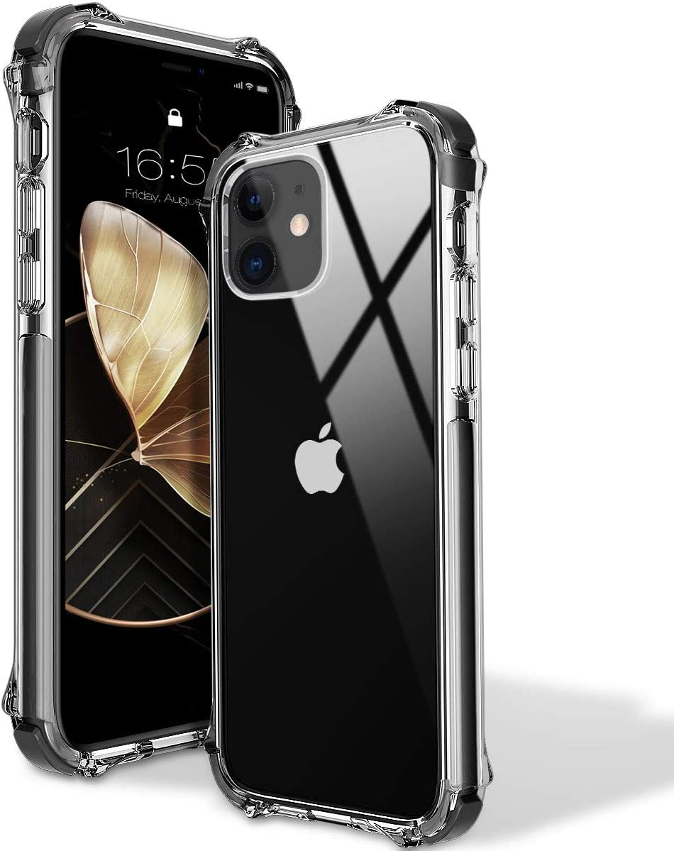 MATEPROX iPhone 11 Case Clear Heavy Duty Protective Crystal Back Cover with Shockproof Bumper Case for iPhone 11 2019 6.1(Black)