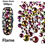 MISMXC 600pcs Resin Crystal AB Round Nail Art Mixed Flat Backs Rhinestones Gems 2mm - 4mm Flatback Glass Charms Gems Stones for Nails Decoration Crafts Eye Makeup Clothes Shoes (Flame)