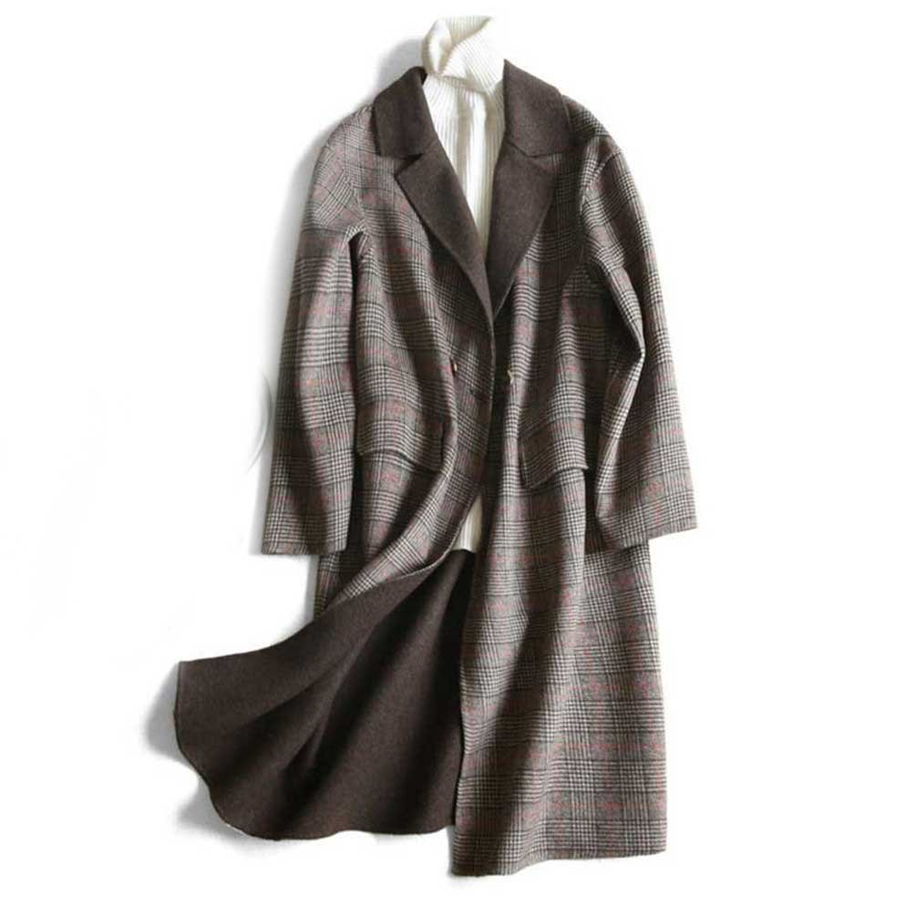 Coffee Women Handmade Checkered Doublesided Cashmere Down Coat Winter Wool Jacket