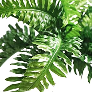 Fake Faux Artificial Boston Ferns Plants Greenery Bushes for Indoor Outside Home Garden Party Decor 4 Bunches 24 Leaves Per Bunch 4