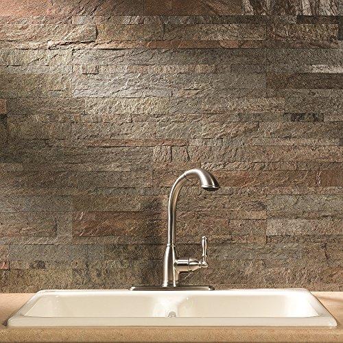 Aspect Peel and Stick Stone Overlay Kitchen Backsplash - Tarnished Quartz (approx. 15 sq ft Kit) - Easy DIY Tile Backsplash