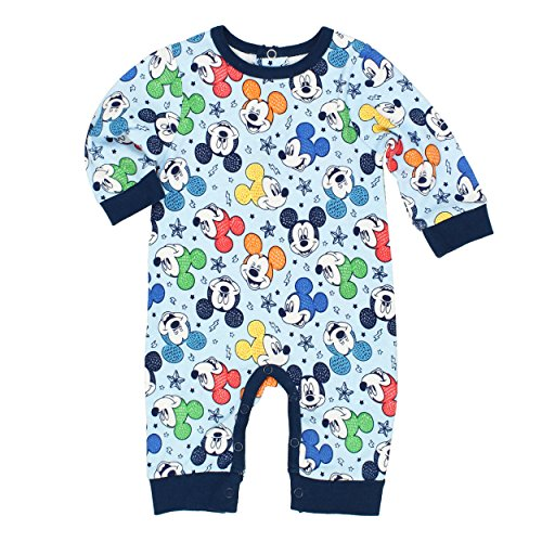 Disney Mickey Mouse Baby Boys Coverall Romper (0-3 Months, Mickey Blue)