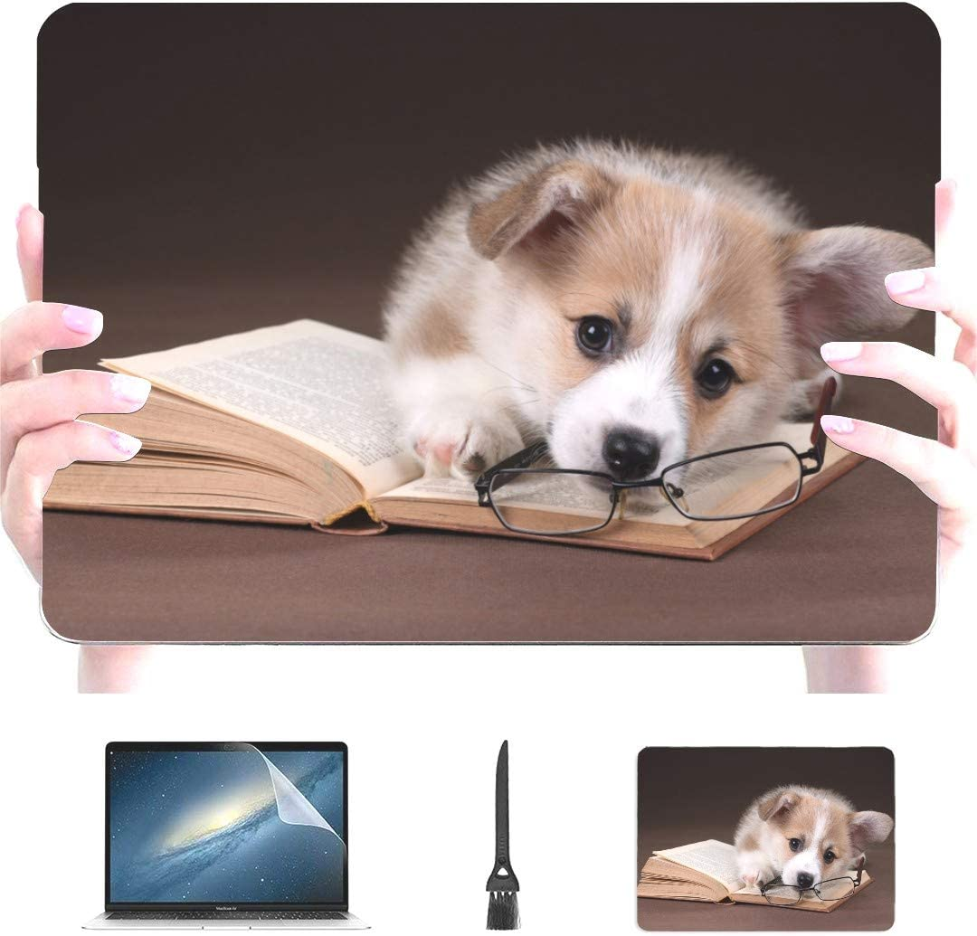 Touch ID Engree Cute Puppy Welsh Corgi Book Glasses Pattern Laptop Case for MacBook Air 13 Inch 2020//2019//2018 A2179//A1932 Retina Display Rubberized Plastic Hard Shell Cover /& Mouse Pad