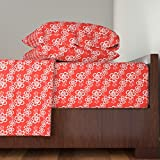 Roostery Floral 4pc Sheet Set Red-Orange Hawaiian Flowers Pattern by Jamesdean King Sheet Set made with