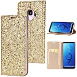 Stysen Galaxy S9 Plus Flip Case,Galaxy S9 Plus Glitter Wallet Case,Elegant Noble Stylish Gold Shiny PU Leather Bookstyle Wallet Protective Case Cover for Samsung Galaxy S9 Plus-Gold