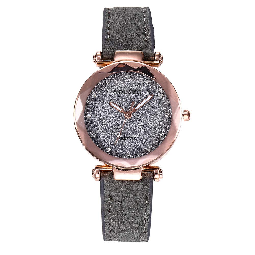 Womens Watches On Sale, VANSOON Casual Fashion Quartz Leather Band Starry Sky Watch Analog Wrist Watch Teen Girls Dress Simple Luxury Bracelet Watches Gift Clearance
