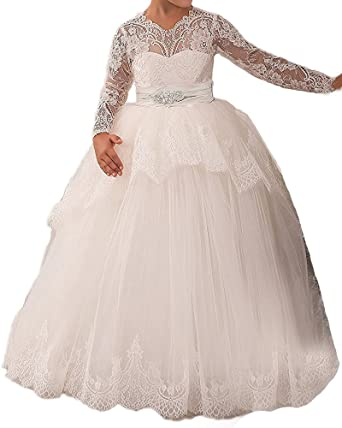 db348fe63d Amazon.com  MarryingHoney Lisa Lace Princess Ball Gown Flower Girl Dress  Holy First Communion Dress LS142  Clothing