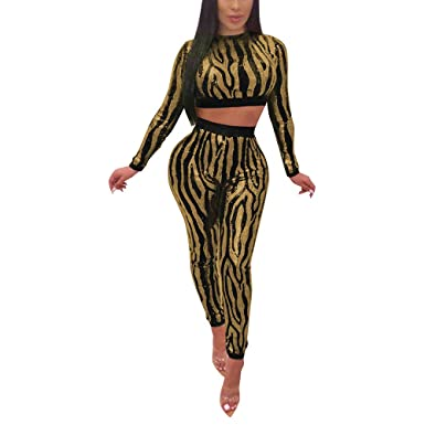 Nhicdns Womens Sexy Two Piece Outfits Sequins Zebra Striped Bodycon Long  Sleeve Crop Tops + Long bde588d9a