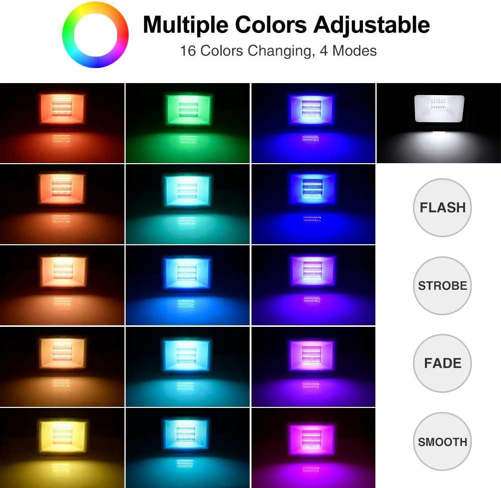 100W RGB Foco LED con Control Remoto 8000lm,16 Colores y 4 Modos Foco Proyector LED Exteriores con Funci/ón de Memoria Impermeable IP66 Iluminaci/ón del Paisaje Proyector LED para Jard/ín Fiesta Etapa