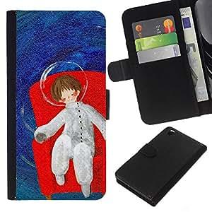 KLONGSHOP // Tirón de la caja Cartera de cuero con ranuras para tarjetas - Sueños Espacio Profundo Metáfora - HTC DESIRE 816 //