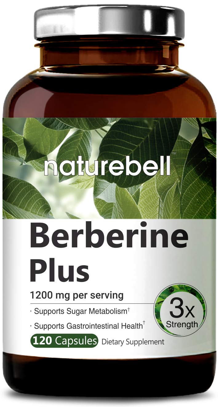 Maximum Strength Berberine Plus, 1200mg Per Serving, 120 Capsule, Powerfully Supports Glucose Metabolism, Immune System, Fat Burn, Cardiovascular & Gastrointestinal Function, Non-GMO & Made in USA.