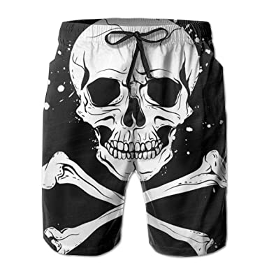 f866d76d21e Mens Pirate Skull Crossbones Quick Dry Swim Trunks Beach Shorts Pants with  Mesh Lining Pockets for