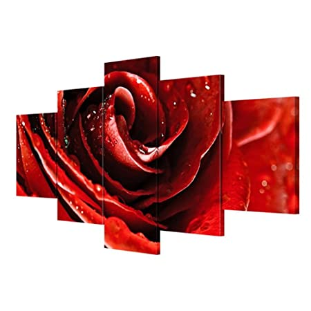 modern canvas wall art giclee print 5 pieces sets of red rose home rh amazon co uk red rose home care red rose home tuition