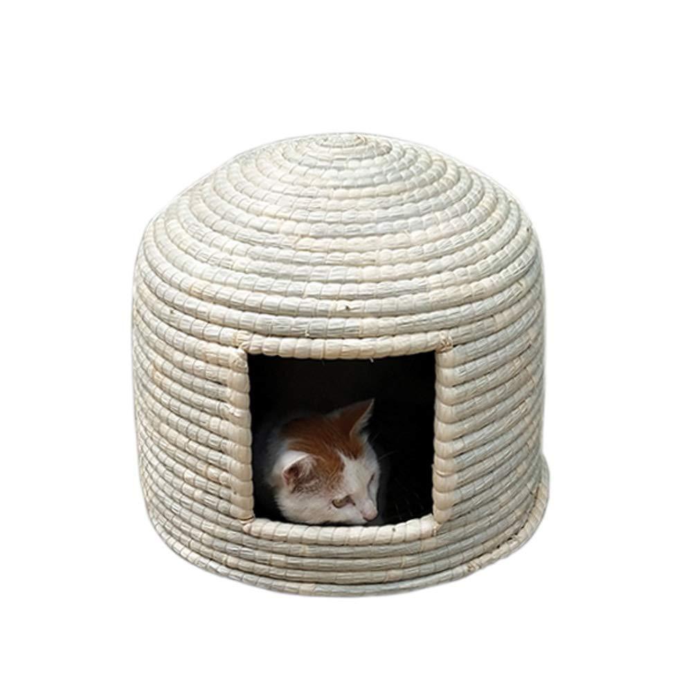 Natural MediumCHEN. Pet bedpet cat bed four seasons universal indoor summer cool closed deep sleep yurt cat house pet supplies,Natural,M