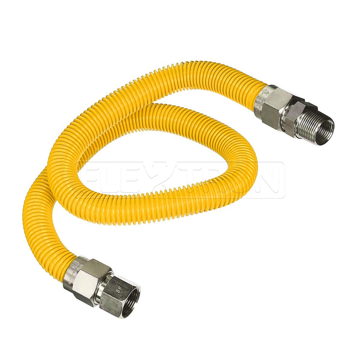 Flextron FTGC-YC34-36P 36'' Flexible Yellow Epoxy Coated Gas Line Connector with 1'' Outer Diameter and 3/4'' FIP x 3/4'' MIP Fittings, Stainless Steel by Flextron