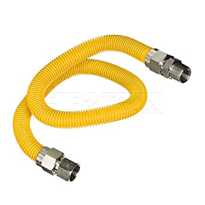 "Flextron FTGC-YC34-36P 36"" Flexible Yellow Epoxy Coated Gas Line Connector with 1"" Outer Diameter and 3/4"" FIP x 3/4"" MIP Fittings, Stainless Steel"