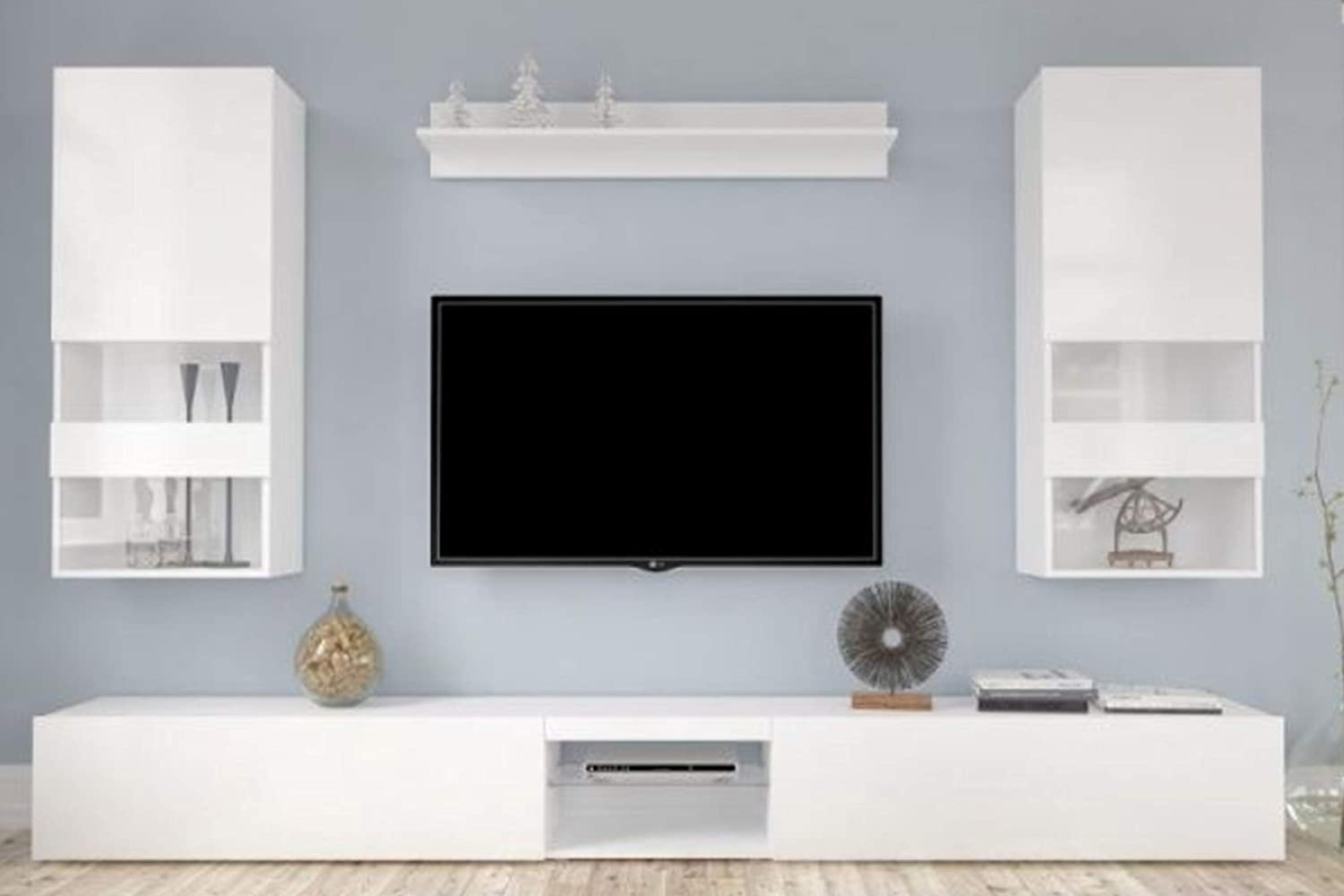 Hm tv unit tv stand entertainment center for tvs decorative furniture for house amazon in home kitchen