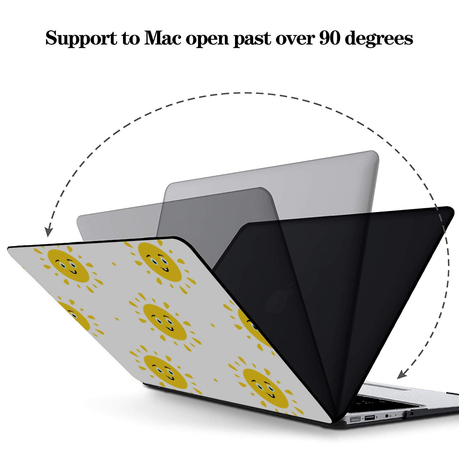 Laptop Shell Case Cartoon Sun Smilie Kawaii Face Plastic Hard Shell Compatible Mac Air 11 Pro 13 15 MacBook Accessories 13 Inch Protection for MacBook 2016-2019 Version