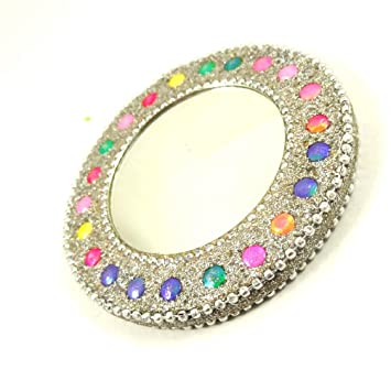 Buy Small Round Mirror Hand Craft Lac Sparking Mirror Cosmetic