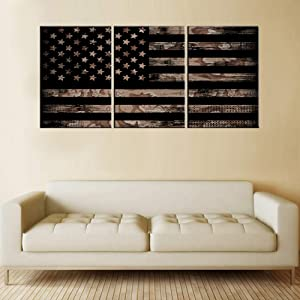 American Canvas Art Wall Decor Flag of United State Pictures for Living Room Black and White Paintings Patriotic Artwork Modern Home Decor Wooden Framed Ready to Hang Posters and Prints(42''Wx20''H)