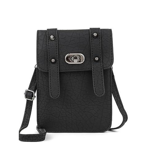 a1964eb2e6bd ... Leather Smartphone Mini Shoulder Bag Crossbody Purse Cell Phone Pouch  Wallet Black  Cell Phones   Accessories. Men s Genuine Leather Handbags  Messenger ...