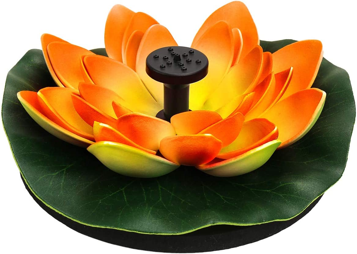 Flantor Artificial Floating Foam Lotus Flowers with Solar Power Water Pump, Realistic Water Lily Pads Decor for Pond Home Garden Patio Aquarium Wedding Party and Swimming Pool (Orange).