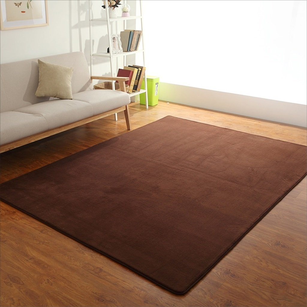 Amazon com solid color living room sofa rug thick carpet bedroom bedside rectangular carpet color brown size 120200cm kitchen dining