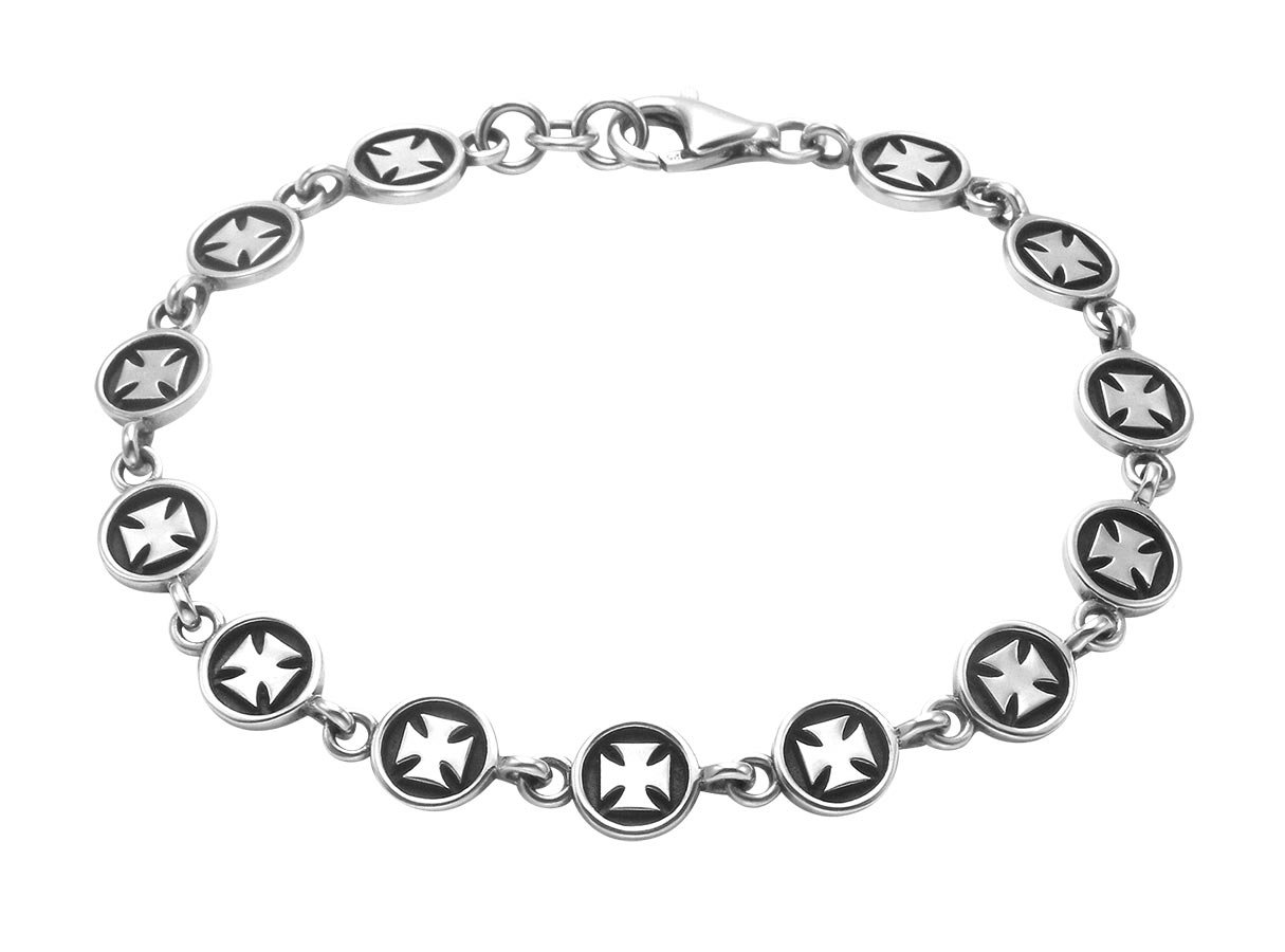 Wild Things Sterling Silver Pattee Cross Button Link 8.5'' Bracelet