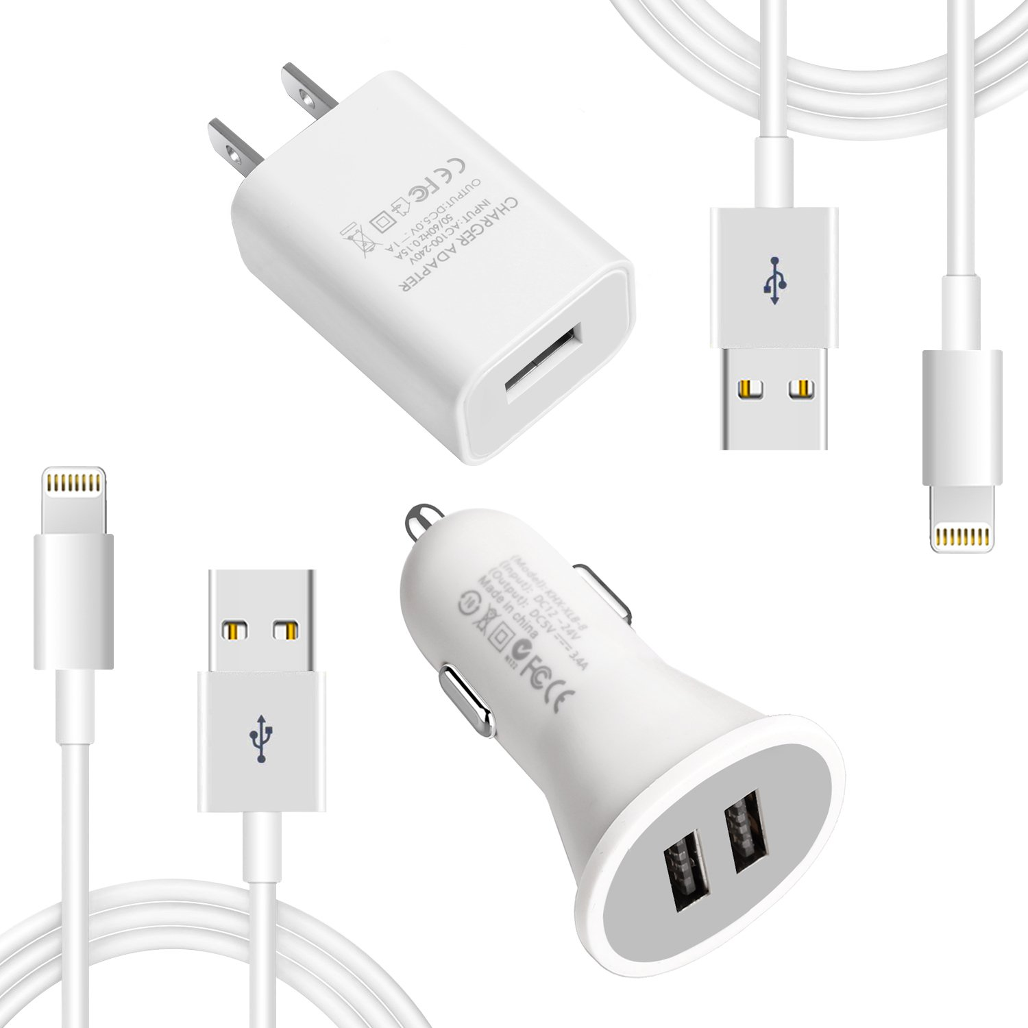 Lightning Cable iPhone Charger for iPhone 8, iPad Charger Lightning Cable Kit for iPhone X /8 / 7 / 6s / 5s /Plus, iPad Pro / Air 2 / Mini and More (Combo Set (iPhone Charger Kit))