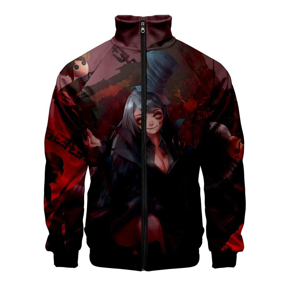 SHEJIAN New Netease Mobile Game Fifth Personality Peripheral 3D Digital Printing Mens Casual Stand Collar Coat