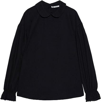 Zara 1131/303/800 - Camisa para Mujer con Cuello de Contraste ...
