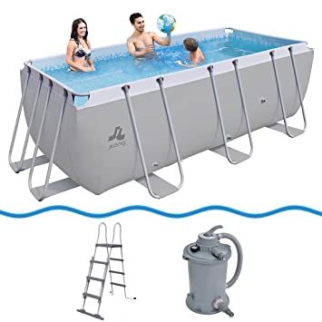 JILONG Swimming Pool Set Passaat Grey - Piscina con Armazón de Acero 400x200x122 cm con Filtro