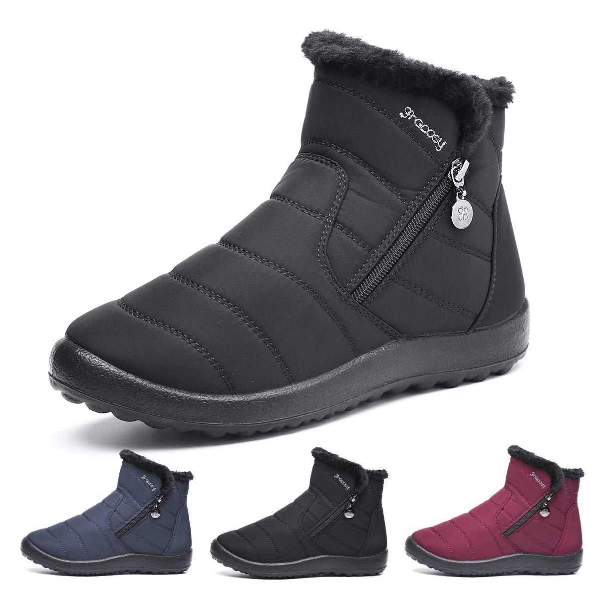 Gracosy Bottes de Neige Femmes Filles, Chaussures Ville Hiver Bottines de  Pluie Imperméable avec Fourrure c5ff6a6ec295