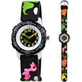Venhoo Kids Watches 3D Cute Cartoon Waterproof Silicone Children Toddler Wrist Watches for Boys Little Child-Black Cute…