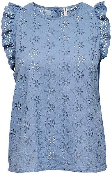 Only Onldestiny Life SL Emb Ang Dnm Top FF Camisa Cami para Mujer: Amazon.es: Ropa y accesorios