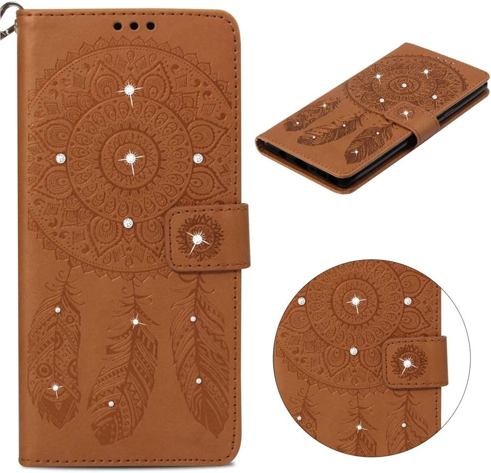 Brown Case for iPhone Xs Max,Embossed Wind Chimes Magnetic Bling Glitter Kickstand Wallet Case Premium PU Leather Cover Credit Card Slots Shockproof TPU Interior Bumper Skin for iPhone Xs Max