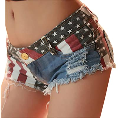 Yayun Yayu Womens Sexy Stars and Stripes Print Denim Broken Holes Beach Hot Shorts