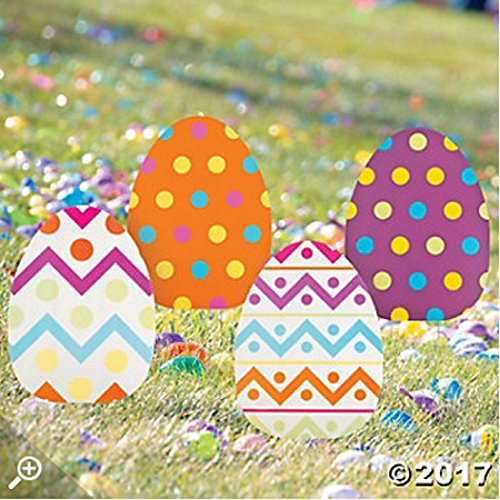 ASSORTED PRINTS Set of 4 whimsical colorful large Jumbo Spring Easter Egg Yard sign garden decoration (Unit Stake)