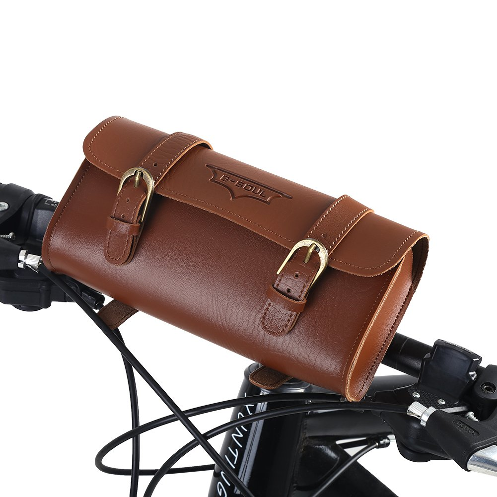 Bicycle Accessories Genuine Leather Bicycle Saddle Bag Bike Small Frame Tool Bag Pouch Handmade Gift