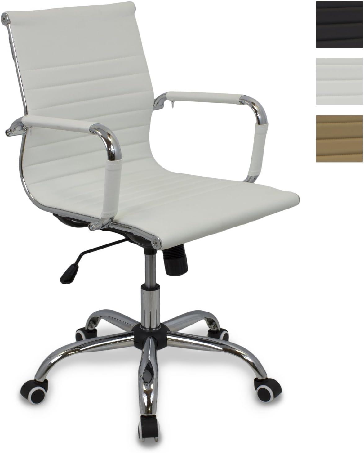 CashOffice - Silla de Escritorio Ajustable en altura, Silla de Oficina Giratoria con apoyabrazos de Piel Sintética (Varios Colores) (Blanco)