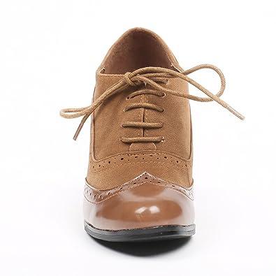 fcbe5ea43da3 Ideal Shoes - Richelieu bi-matière à Talons Divia Camel 41  Amazon.fr   Chaussures et Sacs