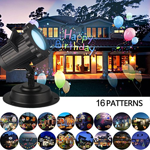 LUCKSTAR LED Projector Lights - 16PCS Switchable Pattern Lens Remote Control Projector Lights Waterproof Sparkling Rotating Spotlight Landscape Projection Light for Christmas Halloween Holiday Party