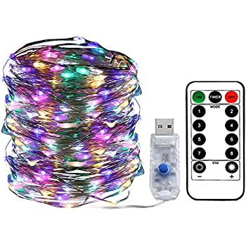 Areskey LED Fairy String Lights - 33ft 100 LED USB Powered Waterproof 8 Modes Remote Control Copper Wire Firefly Lights for Christmas Halloween Holiday Wedding Party (Multicolor)